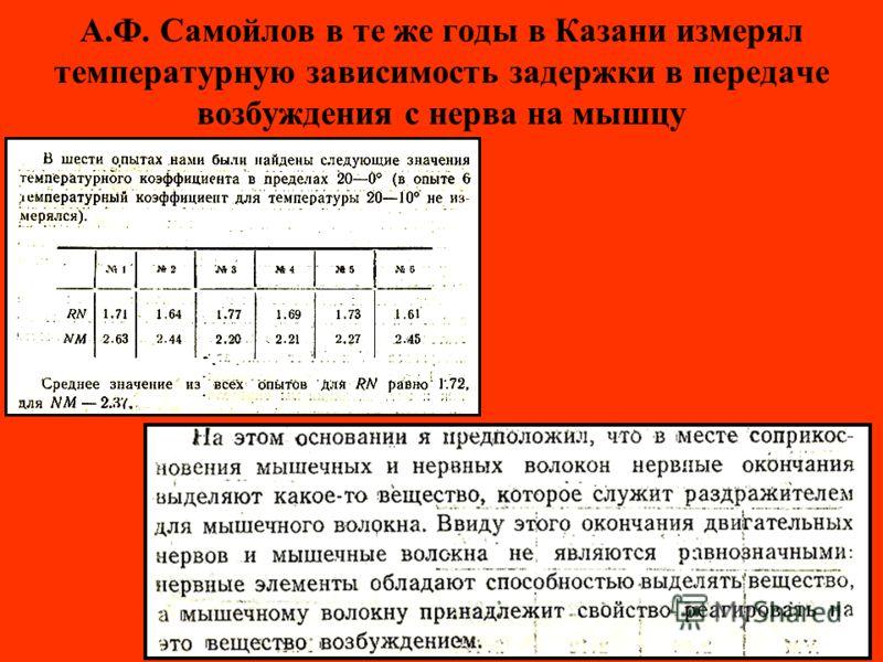 А.Ф. Самойлов в те же годы в Казани измерял температурную зависимость задержки в передаче возбуждения с нерва на мышцу