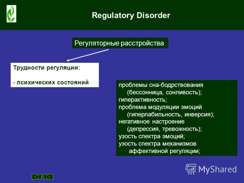 Regulatory Disorder Регуляторные расстройства Трудности регуляции: - психических состояний проблемы сна-бодрствования (бессонница, сонливость); гиперактивность; проблема модуляции эмоций (гиперлабильность, инверсия); негативное настроение (депрессия,