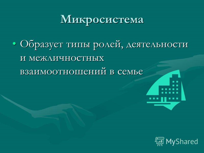 Микросистема Образует типы ролей, деятельности и межличностных взаимоотношений в семьеОбразует типы ролей, деятельности и межличностных взаимоотношений в семье