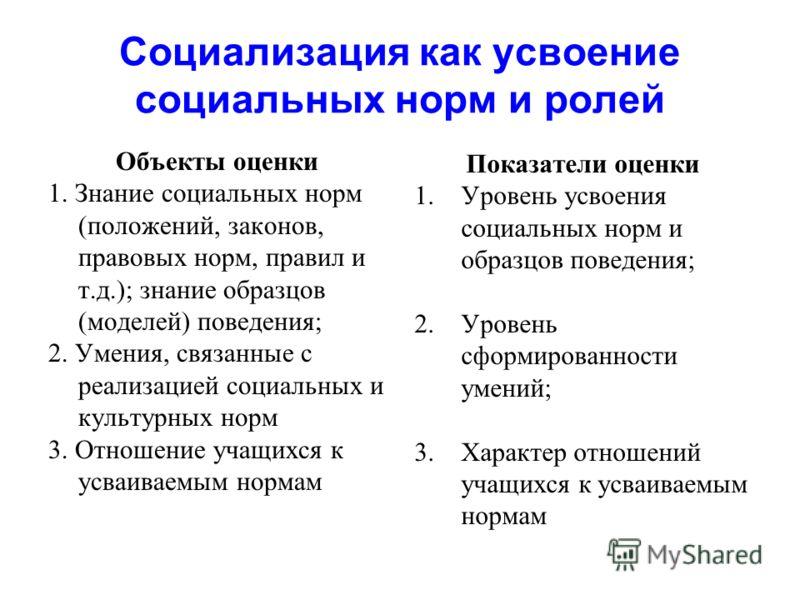 Социализация как усвоение социальных норм и ролей Объекты оценки 1. Знание социальных норм (положений, законов, правовых норм, правил и т.д.); знание образцов (моделей) поведения; 2. Умения, связанные с реализацией социальных и культурных норм 3. Отн