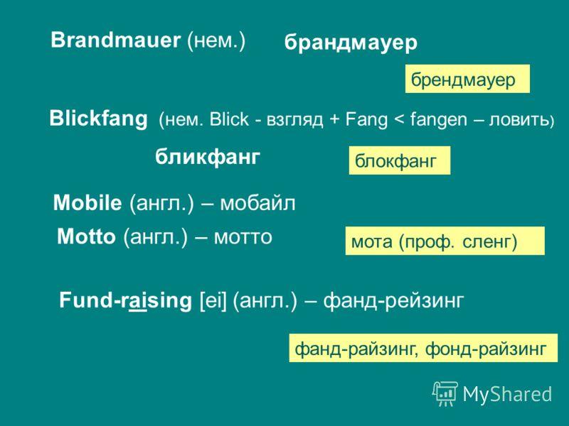 Brandmauer (нем.) брандмауер брендмауер Blickfang (нем. Blick - взгляд + Fang < fangen – ловить ) бликфанг блокфанг Mobile (англ.) – мобайл Motto (англ.) – мотто мота (проф. сленг) Fund-raising [ei] (англ.) – фанд-рейзинг фанд-райзинг, фонд-райзинг