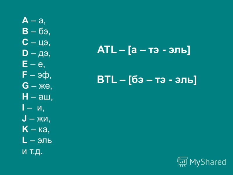 A – а, B – бэ, C – цэ, D – дэ, E – е, F – эф, G – же, H – аш, I – и, J – жи, K – ка, L – эль и т.д. ATL – [а – тэ - эль] BTL – [бэ – тэ - эль]