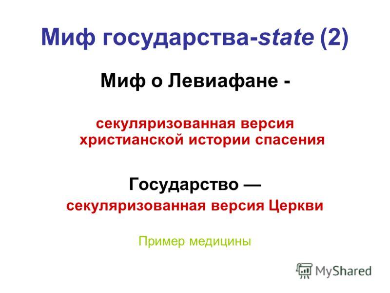 Миф государства-state (2) Миф о Левиафане - секуляризованная версия христианской истории спасения Государство секуляризованная версия Церкви Пример медицины