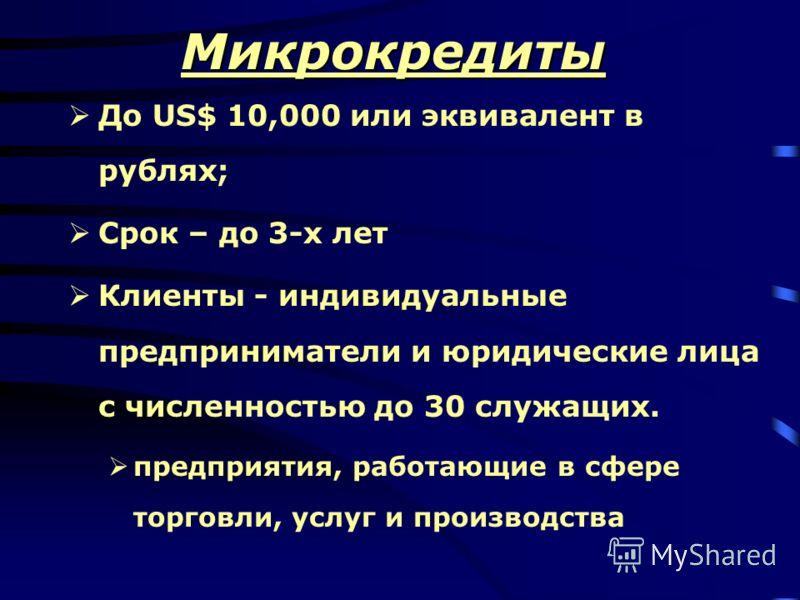 Микрокредиты До US$ 10,000 или эквивалент в рублях; Срок – до 3-х лет Клиенты - индивидуальные предприниматели и юридические лица с численностью до 30 служащих. предприятия, работающие в сфере торговли, услуг и производства