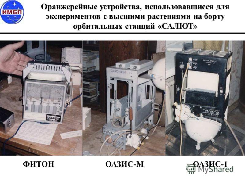 Оранжерейные устройства, использовавшиеся для экспериментов с высшими растениями на борту орбитальных станций «САЛЮТ» ФИТОН ОАЗИС-М ОАЗИС-1