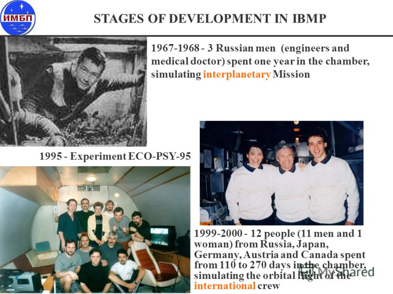 STAGES OF DEVELOPMENT IN IBMP 1967-1968 - 3 Russian men (engineers and medical doctor) spent one year in the chamber, simulating interplanetary Mission 1999-2000 - 12 people (11 men and 1 woman) from Russia, Japan, Germany, Austria and Canada spent f