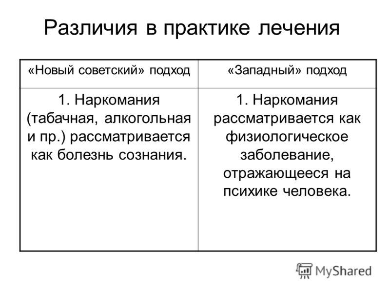 Различия в практике лечения «Новый советский» подход«Западный» подход 1. Наркомания (табачная, алкогольная и пр.) рассматривается как болезнь сознания. 1. Наркомания рассматривается как физиологическое заболевание, отражающееся на психике человека.