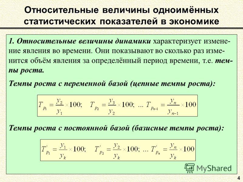 Относительные величины одноимённых статистических показателей в экономике 4 1. Относительные величины динамики характеризует измене- ние явления во времени. Они показывают во сколько раз изме- нится объём явления за определённый период времени, т.е.