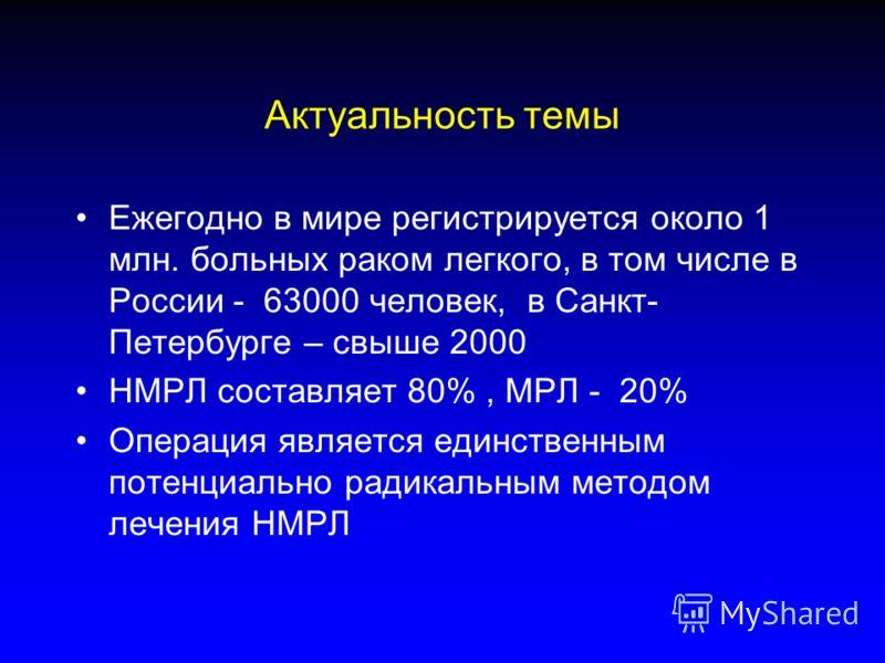 Актуальность темы Ежегодно в мире регистрируется около 1 млн. больных раком легкого, в том числе в России - 63000 человек, в Санкт- Петербурге – свыше 2000 НМРЛ составляет 80%, МРЛ - 20% Операция является единственным потенциально радикальным методом