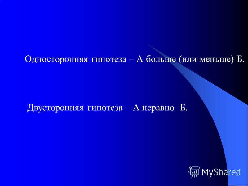 Односторонняя гипотеза – А больше (или меньше) Б. Двусторонняя гипотеза – А неравно Б.