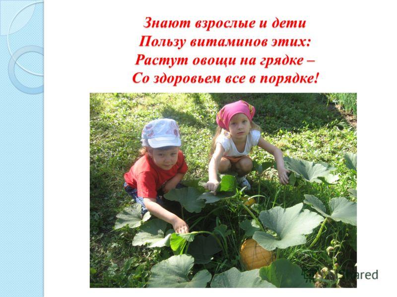 Знают взрослые и дети Пользу витаминов этих: Растут овощи на грядке – Со здоровьем все в порядке! Знают взрослые и дети Пользу витаминов этих: Растут овощи на грядке – Со здоровьем все в порядке!