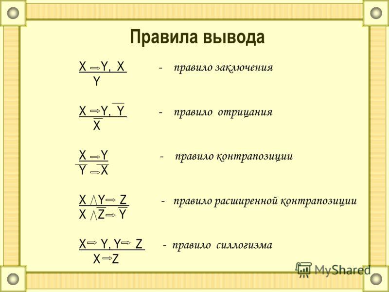 Правила вывода X Y, X - правило заключения Y X Y, Y - правило отрицания X X Y - правило контрапозиции Y X X Y Z - правило расширенной контрапозиции X Z Y X Y, Y Z - правило силлогизма X Z
