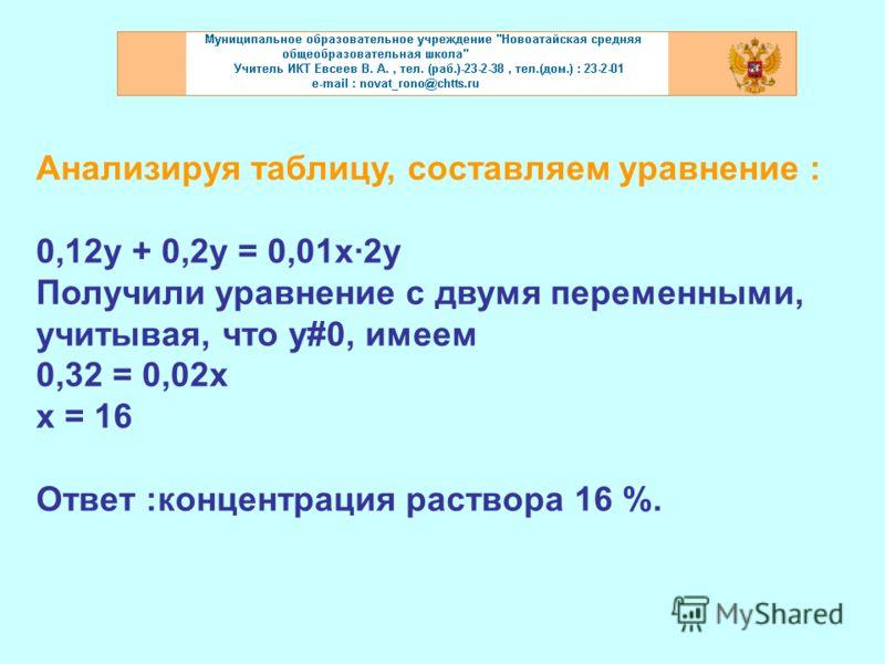 Анализируя таблицу, составляем уравнение : 0,12у + 0,2у = 0,01х·2у Получили уравнение с двумя переменными, учитывая, что у#0, имеем 0,32 = 0,02х х = 16 Ответ :концентрация раствора 16 %.