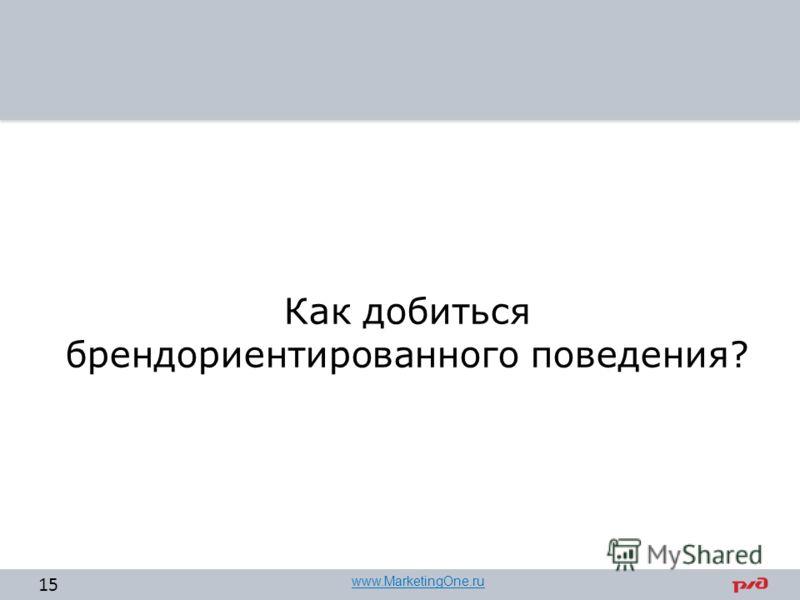 Как добиться брендориентированного поведения? 15 www.MarketingOne.ru