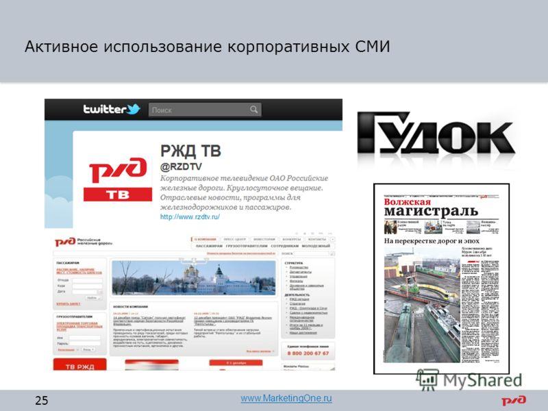 Активное использование корпоративных СМИ 25 www.MarketingOne.ru