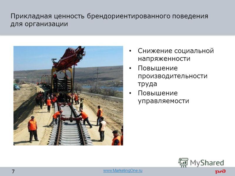 Прикладная ценность брендориентированного поведения для организации Снижение социальной напряженности Повышение производительности труда Повышение управляемости 7 www.MarketingOne.ru