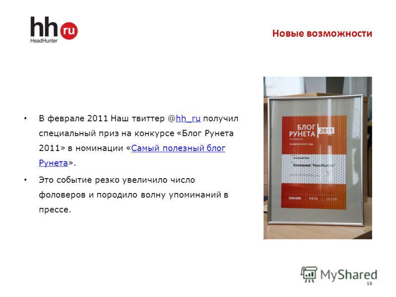 Новые возможности В феврале 2011 Наш твиттер @hh_ru получил специальный приз на конкурсе «Блог Рунета 2011» в номинации «Самый полезный блог Рунета».hh_ruСамый полезный блог Рунета Это событие резко увеличило число фоловеров и породило волну упоминан
