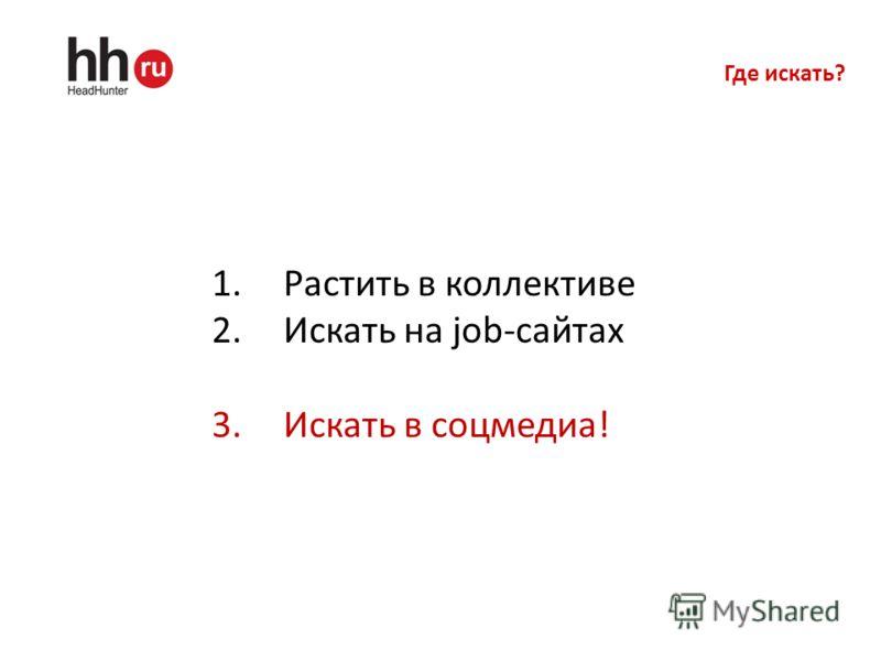 Где искать? 1.Растить в коллективе 2.Искать на job-сайтах 3.Искать в соцмедиа!