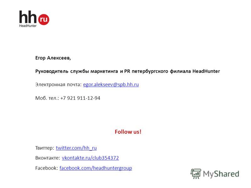 Егор Алексеев, Руководитель службы маркетинга и PR петербургского филиала HeadHunter Электронная почта: egor.alekseev@spb.hh.ruegor.alekseev@spb.hh.ru Моб. тел.: +7 921 911-12-94 Follow us! Твиттер: twitter.com/hh_rutwitter.com/hh_ru Вконтакте: vkont