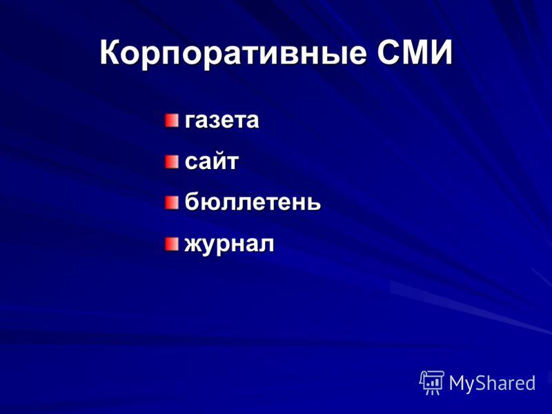 Корпоративные СМИ газетасайтбюллетеньжурнал