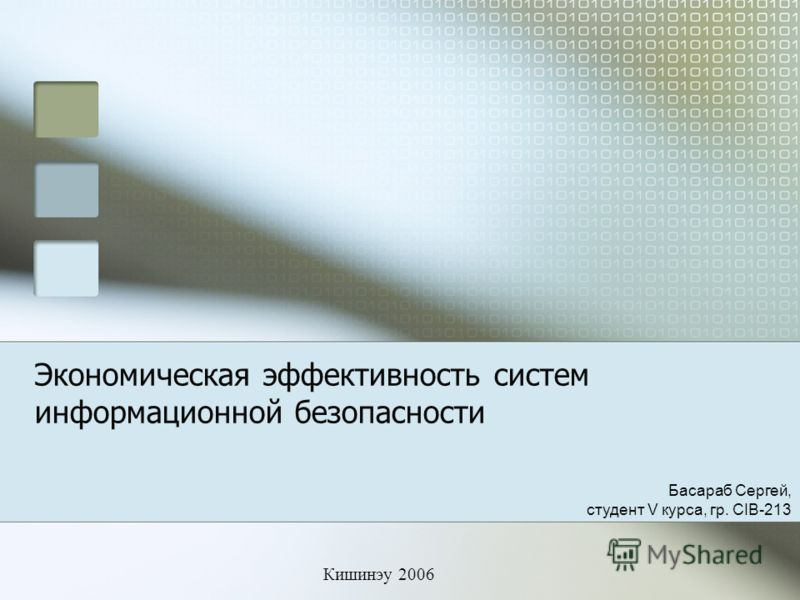 Экономическая эффективность систем информационной безопасности Кишинэу 2006 Басараб Сергей, студент V курса, гр. CIB-213