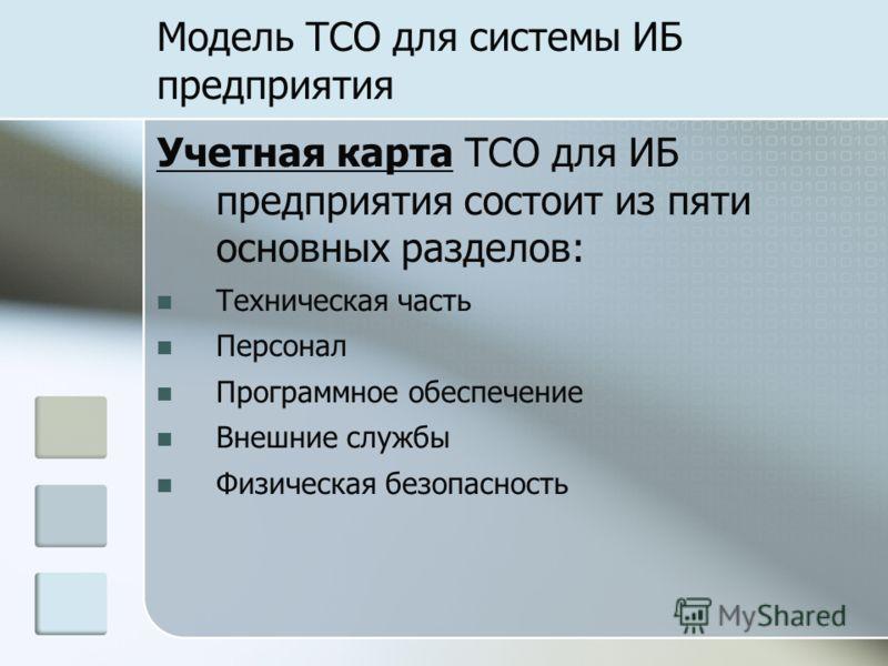 Модель TCO для системы ИБ предприятия Учетная карта TCO для ИБ предприятия состоит из пяти основных разделов: Техническая часть Персонал Программное обеспечение Внешние службы Физическая безопасность