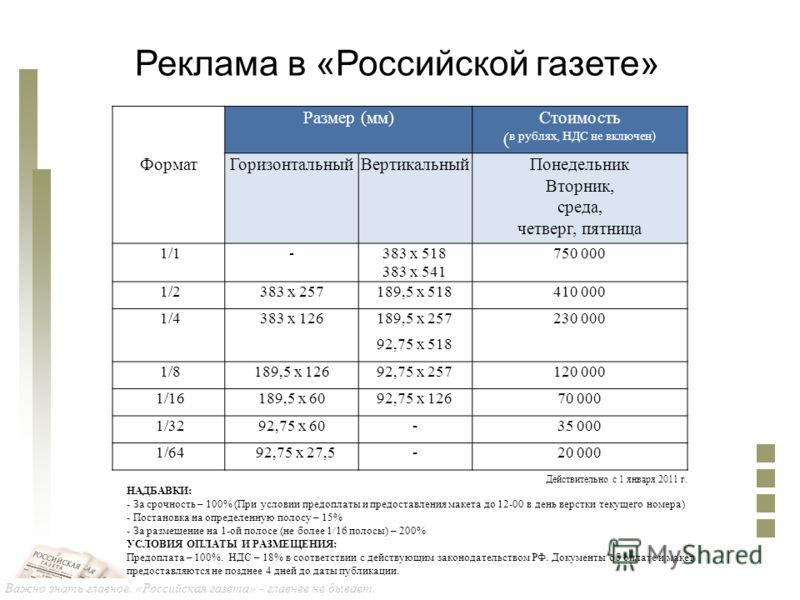 Важно знать главное. «Российская газета» - главнее не бывает. Реклама в «Российской газете» Размер (мм)Стоимость ( в рублях, НДС не включен) ФорматГоризонтальныйВертикальныйПонедельник Вторник, среда, четверг, пятница 1/1-383 х 518 383 х 541 750 000
