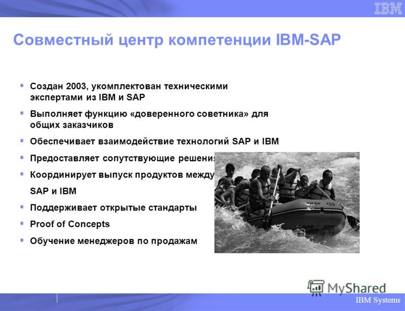IBM Systems Совместный центр компетенции IBM-SAP Создан 2003, укомплектован техническими экспертами из IBM и SAP Выполняет функцию «доверенного советника» для общих заказчиков Обеспечивает взаимодействие технологий SAP и IBM Предоставляет сопутствующ