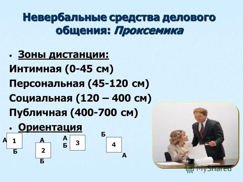 Невербальные средства делового общения: Проксемика Зоны дистанции: Зоны дистанции: Интимная (0-45 см) Персональная (45-120 см) Социальная (120 – 400 см) Публичная (400-700 см) Ориентация Ориентация 1 2 4 3 А Б А Б АБАБ А Б