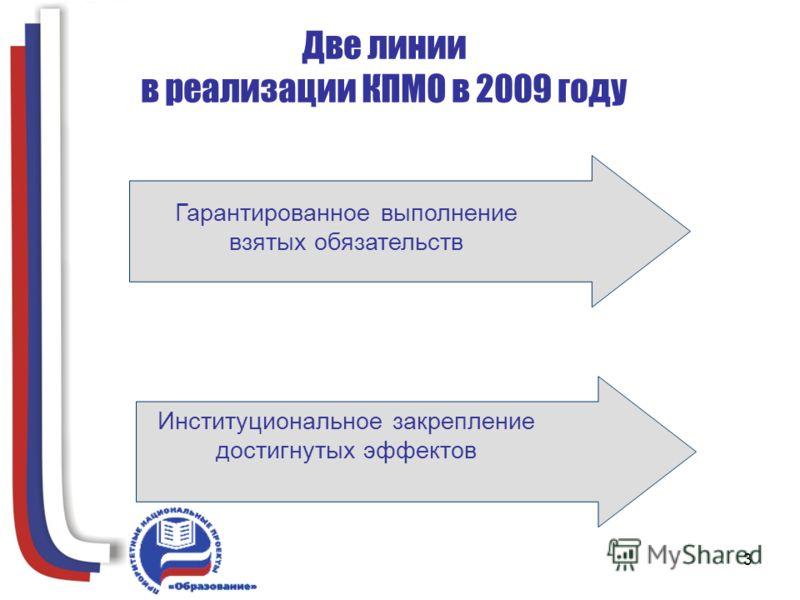 3 Две линии в реализации КПМО в 2009 году Гарантированное выполнение взятых обязательств Институциональное закрепление достигнутых эффектов