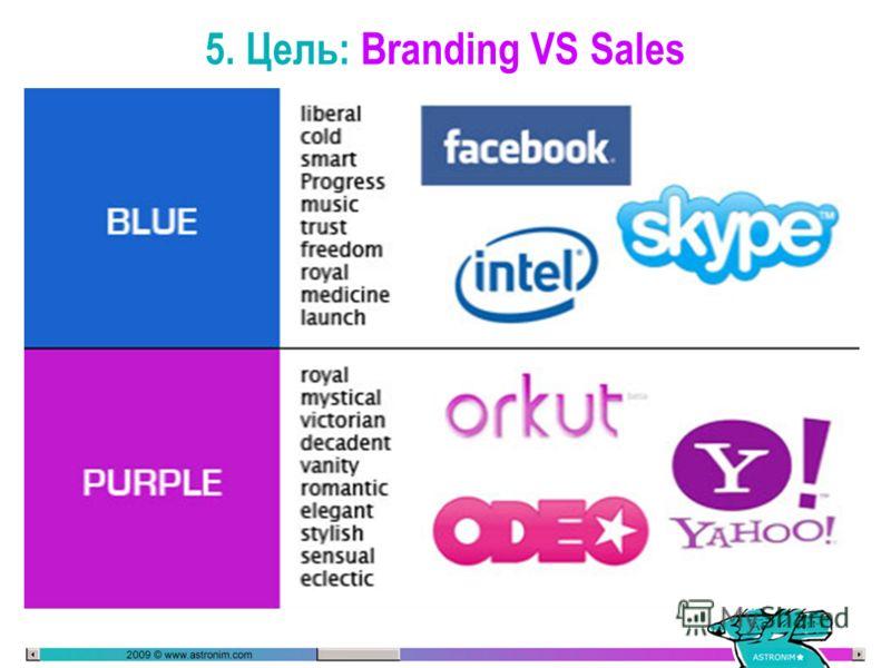 5. Цель: Branding VS Sales