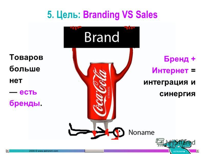 5. Цель: Branding VS Sales Товаров больше нет есть бренды. Бренд + Интернет = интеграция и синергия