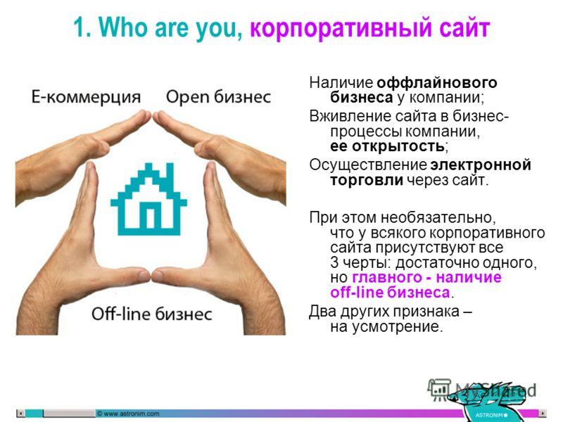 Наличие оффлайнового бизнеса у компании; Вживление сайта в бизнес- процессы компании, ее открытость; Осуществление электронной торговли через сайт. При этом необязательно, что у всякого корпоративного сайта присутствуют все 3 черты: достаточно одного