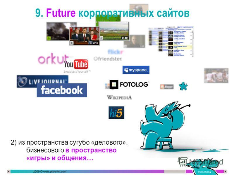 9. Future корпоративных сайтов 2) из пространства сугубо «делового», бизнесового в пространство «игры» и общения…