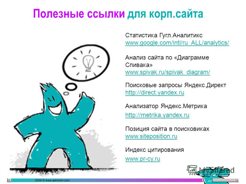 Полезные ссылки для корп.сайта Статистика Гугл.Аналитикс www.google.com/intl/ru_ALL/analytics/ Анализ сайта по «Диаграмме Спивака» www.spivak.ru/spivak_diagram/ www.spivak.ru/spivak_diagram/ Поисковые запросы Яндекс.Директ http://direct.yandex.ru htt