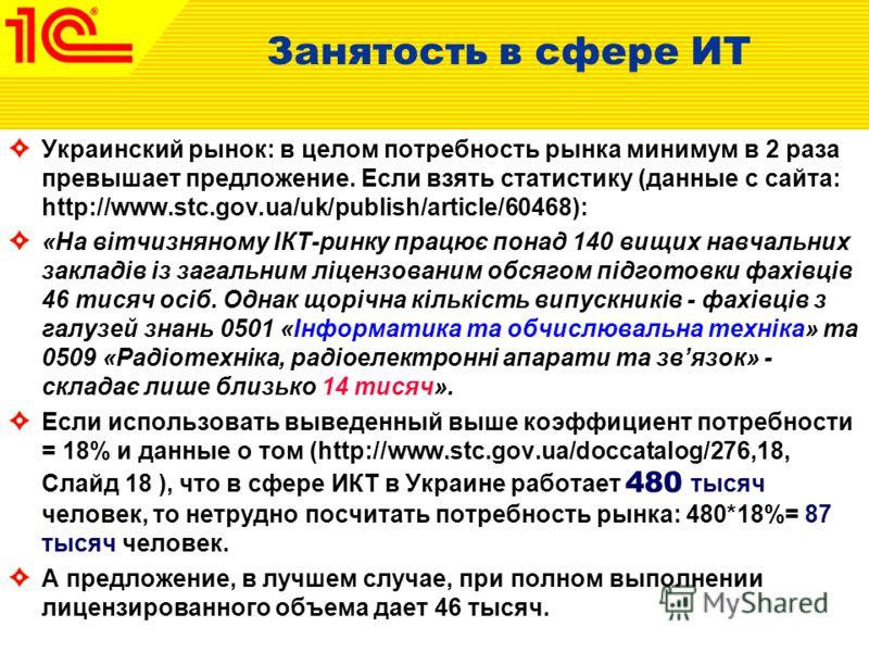 Украинский рынок: в целом потребность рынка минимум в 2 раза превышает предложение. Если взять статистику (данные с сайта: http://www.stc.gov.ua/uk/publish/article/60468): «На вітчизняному ІКТ-ринку працює понад 140 вищих навчальних закладів із загал