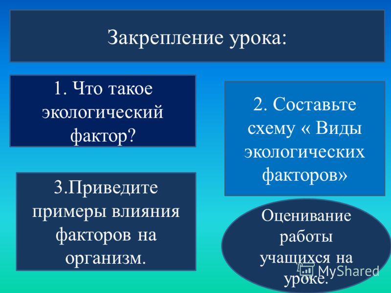 Закрепление урока: 1. Что такое экологический фактор? 2. Составьте схему « Виды экологических факторов» 3.Приведите примеры влияния факторов на организм. Оценивание работы учащихся на уроке.