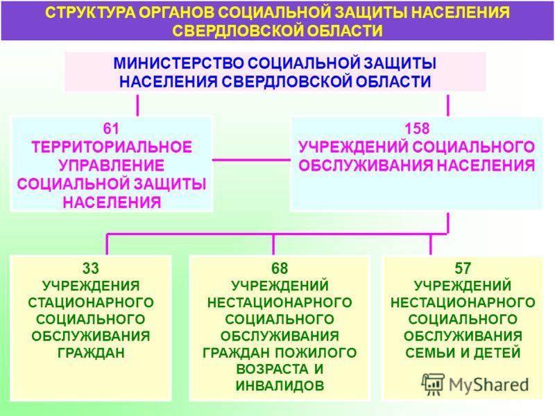 СТРУКТУРА ОРГАНОВ СОЦИАЛЬНОЙ ЗАЩИТЫ НАСЕЛЕНИЯ СВЕРДЛОВСКОЙ ОБЛАСТИ МИНИСТЕРСТВО СОЦИАЛЬНОЙ ЗАЩИТЫ НАСЕЛЕНИЯ СВЕРДЛОВСКОЙ ОБЛАСТИ 61 ТЕРРИТОРИАЛЬНОЕ УПРАВЛЕНИЕ СОЦИАЛЬНОЙ ЗАЩИТЫ НАСЕЛЕНИЯ 158 УЧРЕЖДЕНИЙ СОЦИАЛЬНОГО ОБСЛУЖИВАНИЯ НАСЕЛЕНИЯ 33 УЧРЕЖДЕНИЯ