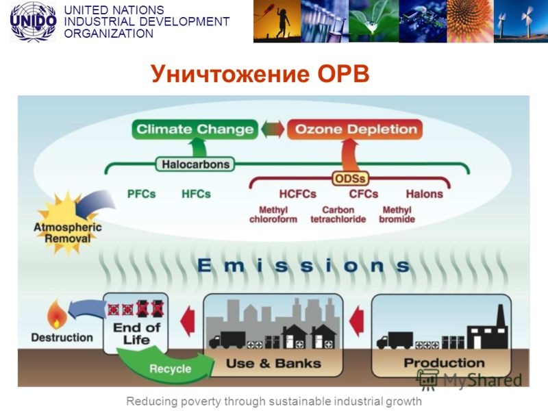 UNITED NATIONS INDUSTRIAL DEVELOPMENT ORGANIZATION Reducing poverty through sustainable industrial growth Уничтожение ОРВ