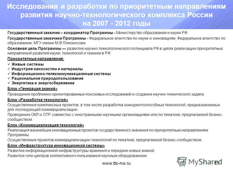 www.ttc-nw.ru10 Схема взаимодействия ФЦП