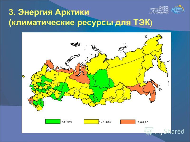 3. Энергия Арктики (климатические ресурсы для ТЭК )