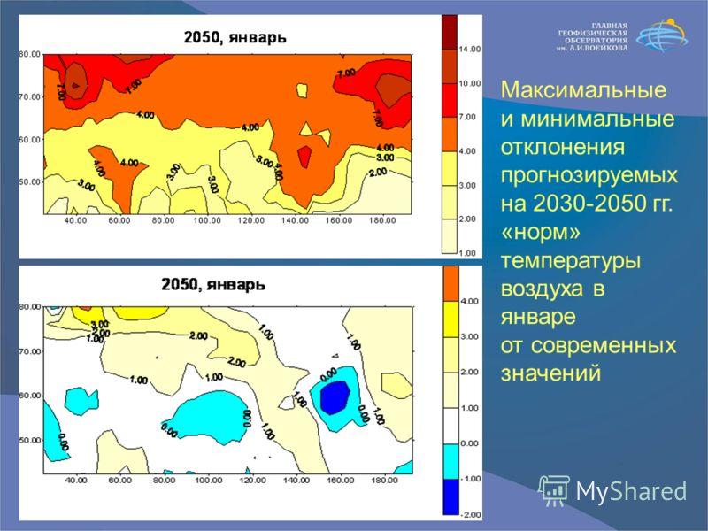 Максимальные и минимальные отклонения прогнозируемых на 2030-2050 гг. «норм» температуры воздуха в январе от современных значений