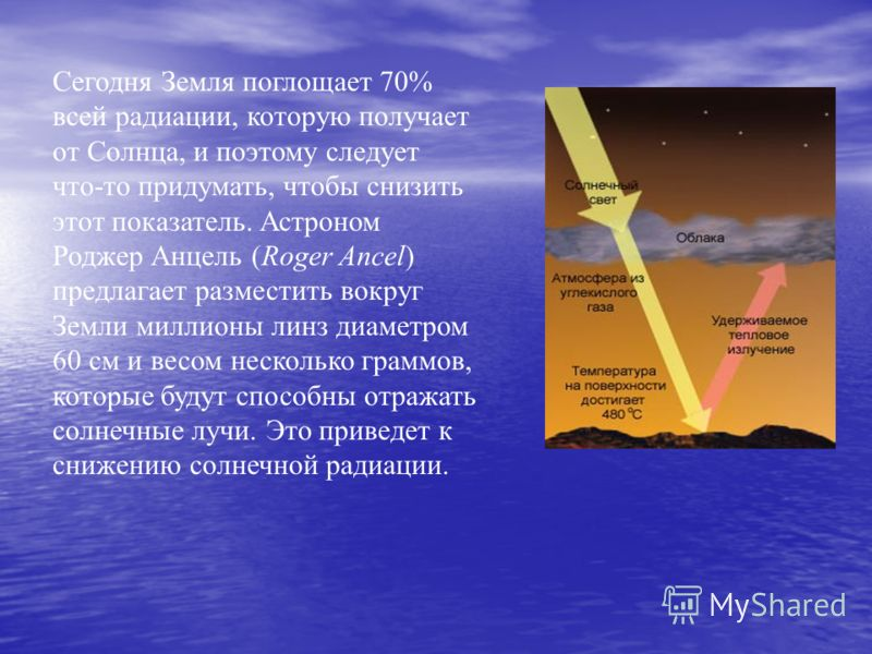 Сегодня Земля поглощает 70% всей радиации, которую получает от Солнца, и поэтому следует что-то придумать, чтобы снизить этот показатель. Астроном Роджер Анцель (Roger Ancel) предлагает разместить вокруг Земли миллионы линз диаметром 60 см и весом не