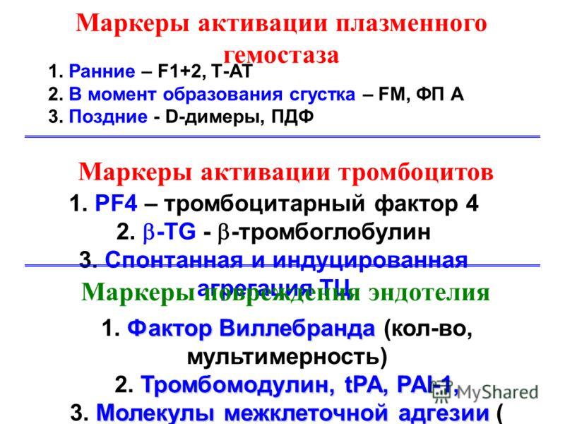 Маркеры активации плазменного гемостаза 1. Ранние – F1+2, Т-АТ 2. В момент образования сгустка – FM, ФП А 3. Поздние - D-димеры, ПДФ Маркеры активации тромбоцитов 1. PF4 – тромбоцитарный фактор 4 2. -TG - -тромбоглобулин 3. Спонтанная и индуцированна
