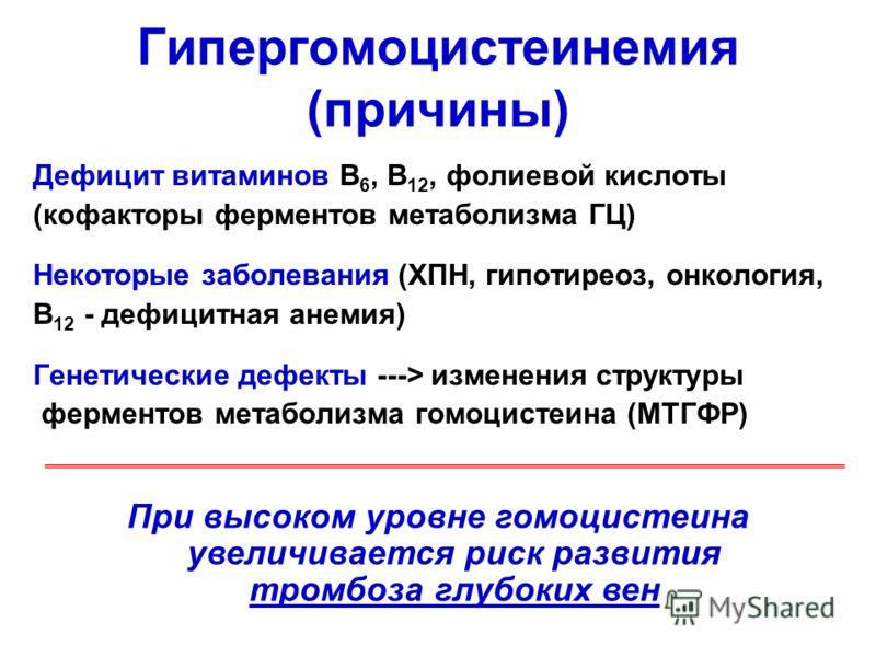 Гипергомоцистеинемия (причины) Дефицит витаминов В 6, В 12, фолиевой кислоты (кофакторы ферментов метаболизма ГЦ) Некоторые заболевания (ХПН, гипотиреоз, онкология, В 12 - дефицитная анемия) Генетические дефекты ---> изменения структуры ферментов мет