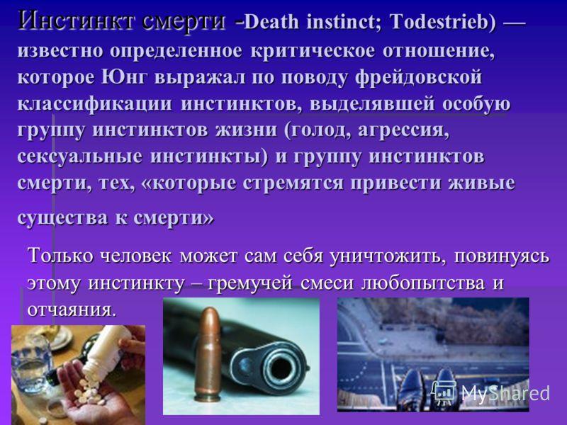Инстинкт смерти - Death instinct; Todestrieb) известно определенное критическое отношение, которое Юнг выражал по поводу фрейдовской классификации инстинктов, выделявшей особую группу инстинктов жизни (голод, агрессия, сексуальные инстинкты) и группу
