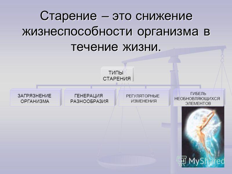 Старение – это снижение жизнеспособности организма в течение жизни. ТИПЫ СТАРЕНИЯ ЗАГРЯЗНЕНИЕ ОРГАНИЗМА ГЕНЕРАЦИЯ РАЗНООБРАЗИЯ РЕГУЛЯТОРНЫЕ ИЗМЕНЕНИЯ ГИБЕЛЬ НЕОБНОВЛЯЮЩИХСЯ ЭЛЕМЕНТОВ
