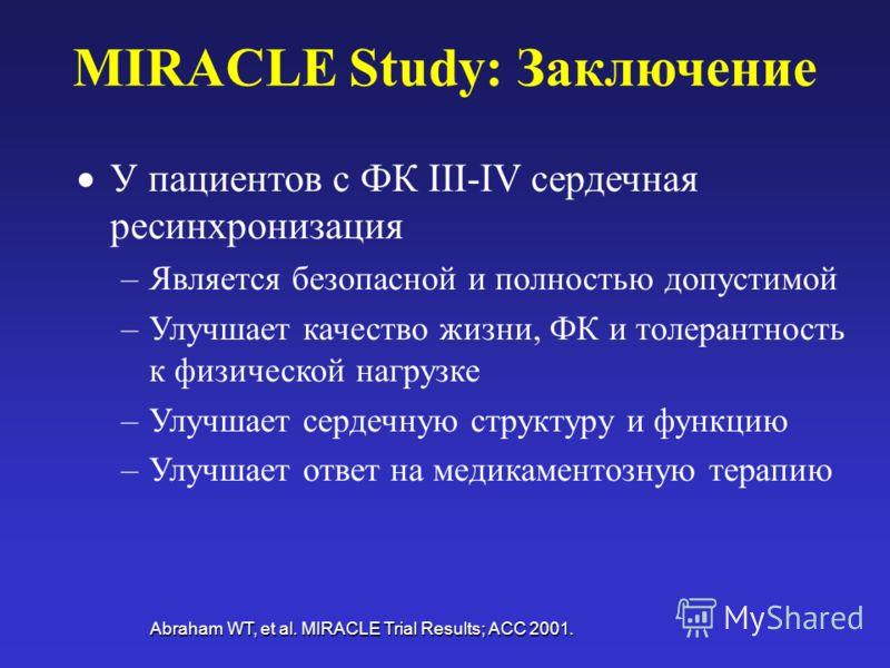 MIRACLE Study: Заключение У пациентов с ФК III-IV сердечная ресинхронизация –Является безопасной и полностью допустимой –Улучшает качество жизни, ФК и толерантность к физической нагрузке –Улучшает сердечную структуру и функцию –Улучшает ответ на меди