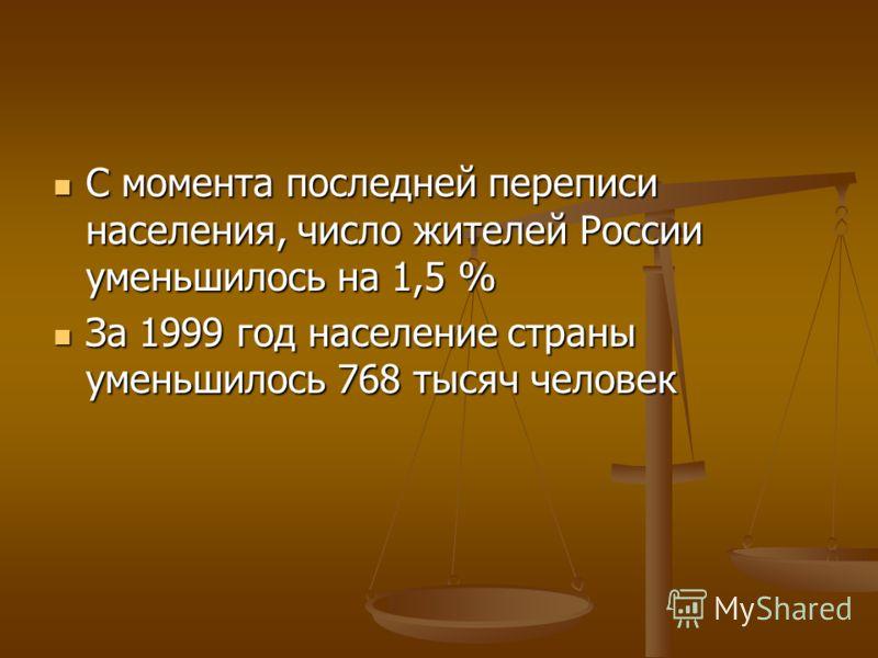 С момента последней переписи населения, число жителей России уменьшилось на 1,5 % С момента последней переписи населения, число жителей России уменьшилось на 1,5 % За 1999 год население страны уменьшилось 768 тысяч человек За 1999 год население стран