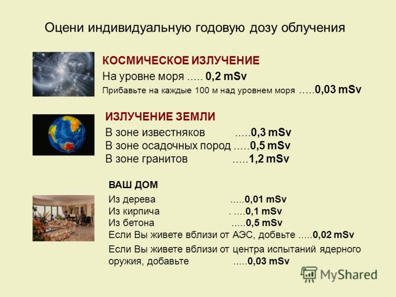 Оцени индивидуальную годовую дозу облучения КОСМИЧЕСКОЕ ИЗЛУЧЕНИЕ На уровне моря..... 0,2 mSv Прибавьте на каждые 100 м над уровнем моря.....0,03 mSv ИЗЛУЧЕНИЕ ЗЕМЛИ В зоне известняков.....0,3 mSv В зоне осадочных пород.....0,5 mSv В зоне гранитов...
